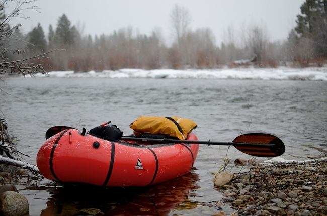 Our launch site on the West Fork of the Bitterroot on a cold and snowy March day. My packraft of choice: an Alpaca, the smallest model from the Alpacka Raft Co.
